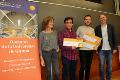 La vicerectora de Recerca de la UdG, Dolors Capellà; els doctorands Albert Artigas i Carles Solé; i el director de l'Escola de Doctorat, Miquel Solà