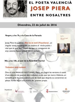 """El poeta Josep Piera presenta l'assaig autobiogràfic """"Mai no és tard (Vinyoliana)"""" i llegeix poemes de trobadors àrabs."""