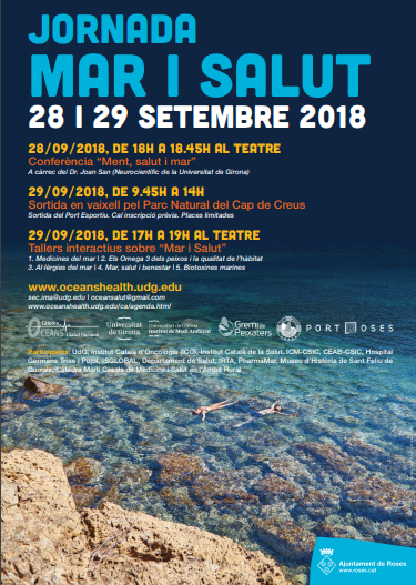 La Càtedra Oceans i Salut Humana i l'Institut de Medi Ambient (IMA) de la Universitat de Girona co-organitzent activitats a Roses els dies 28 i 29 de setembre